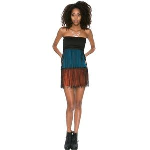 Color Block Fringe Bodycon Night Out Dress